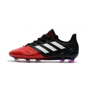 Homme Adidas ACE 17.1 Leather FG Noir/Rouge