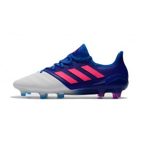 Homme Adidas ACE 17.1 Leather FG Bleu/Blanc