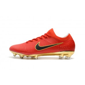 Homme NIke Mercurial Vapor Flyknit Ultra FG Rouge/Or