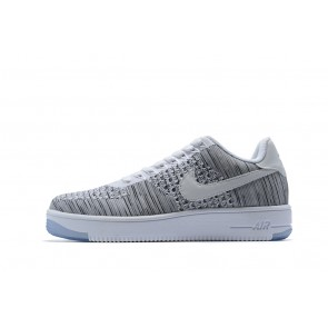 Femme/Homme Nike Air Force 1 W AF 1 FLYKNIT LOW Gris/Blanc